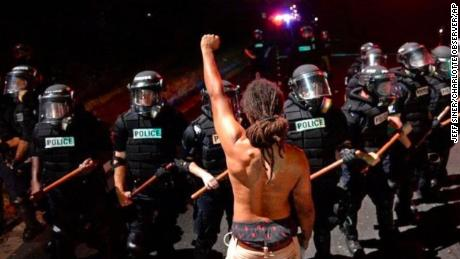 Braxton Winston was captured in this photo protesting in Sept 2016 after police fatally shot Keith Lamont Scott in Charlotte.