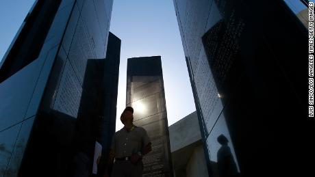 The Los Angeles Holocaust Monument stands against a cloudless sky as members of the Jewish community observe Holocaust Remembrance Day at Pan Pacific Park in Los Angeles on May 1, 2011.