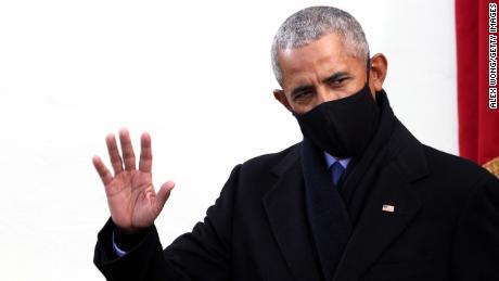 Former US President Barack Obama arrives to the inauguration of US President-elect Joe Biden.