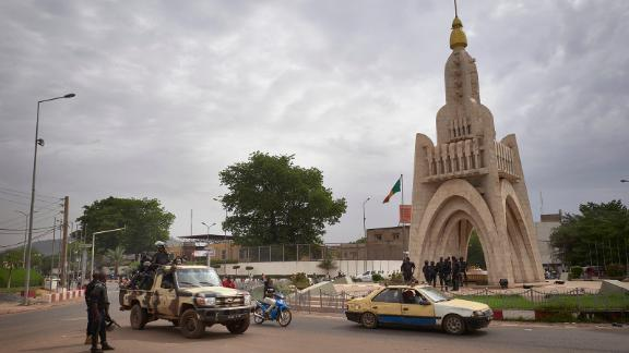 Members of Mali's National Guard are seen at Independence Square in Bamako on May 25.