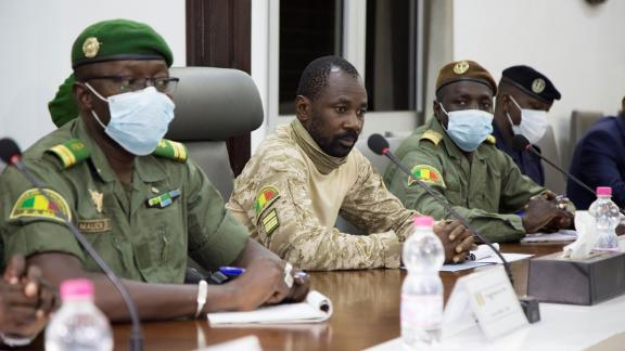 President of the CNSP (National Committee for the Salvation of the People) Assimi Goita prepares for a meeting between Malian military leaders and an ECOWAS delegation on August 22, 2020.