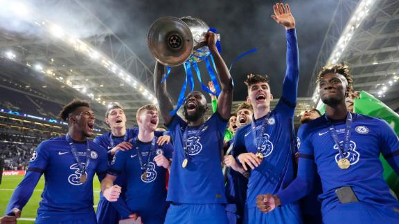 Antonio Ruediger of Chelsea celebrates with the Champions League Trophy following their team's victory in the UEFA Champions League Final between Manchester City and Chelsea FC at Estadio do Dragao on May 29, 2021 in Porto, Portugal.