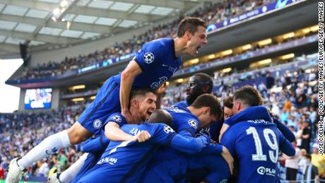 Chelsea players celebrate after Kai Havertz scored in the first half during the Champions League final on Saturday 29 May in Porto.  Portugal