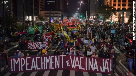Protesters are taking part in a protest against the manipulation of the pandemic in Sao Paulo by Brazilian President Jair Bolsonaro.