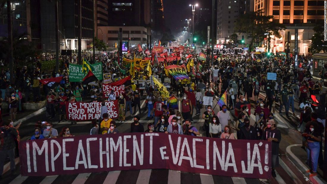 Tens of thousands protest in Brazil demanding Bolsonaro's impeachment and better vaccine access