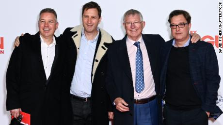 Ferguson with his children Darren, Mark and Jason at the documentary premiere.