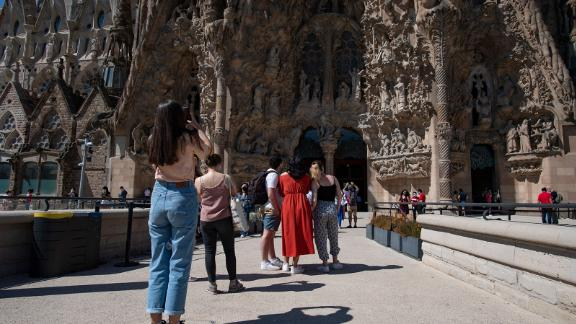 People visit the Sagrada Familia basilica in Barcelona on May 29, 2021 as it reopens for tourist visits. (Photo by Josep LAGO / AFP) (Photo by JOSEP LAGO/AFP via Getty Images)