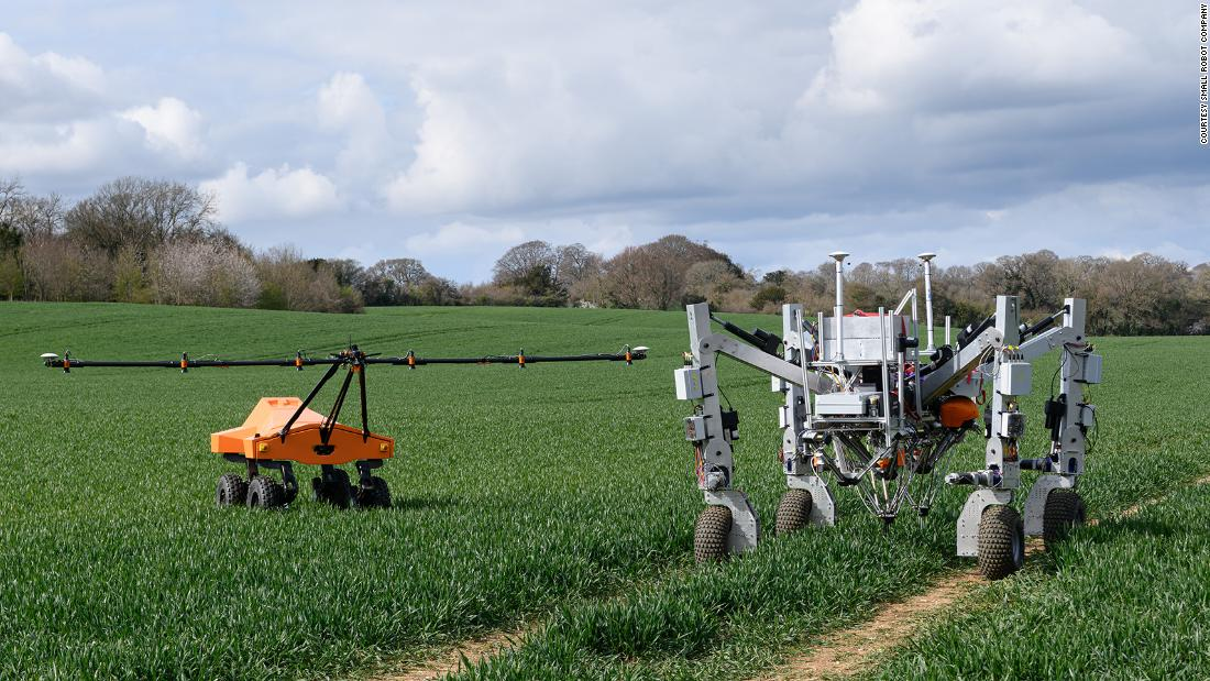 A robot is killing weeds by zapping them with electricity