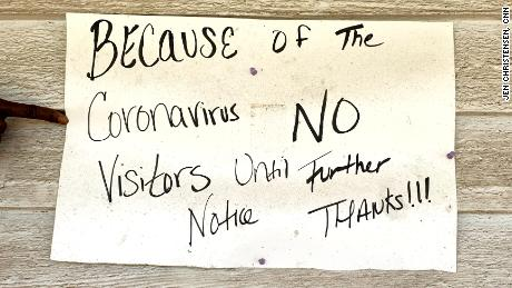 A sign warns visitors away from a home in rural Cuthbert, Georgia, an area hit hard by the Covid-19 pandemic.