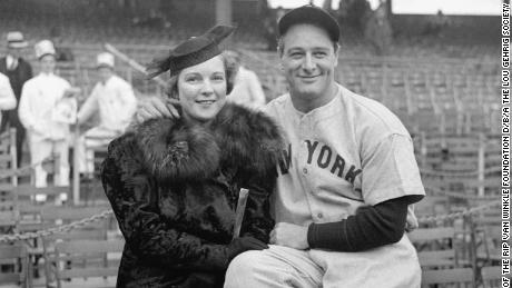 """Gehrig pictured with his wife Eleanor, whom he called a """"tower of strength"""" during his farewell address."""