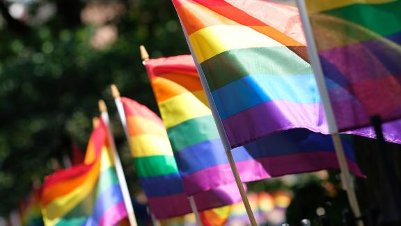 Pride Flags decorate Christopher Park on June 22, 2020 in New York City. Due to the ongoing Coronavirus pandemic, this year's march had to be canceled over health concerns. The annual event, which sees millions of attendees, marks it's 50th anniversary since the first march following the Stonewall Inn riots.on June 22, 2020 in New York City. (Photo by Dimitrios Kambouris/Getty Images,)