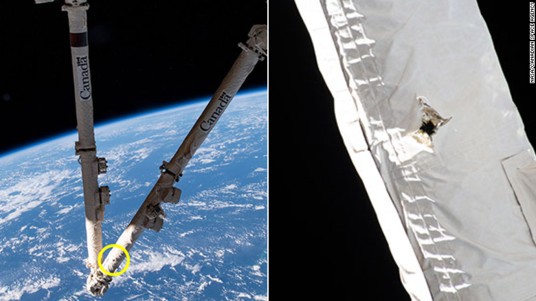 Space junk hit the International Space Station, damaging a robotic arm