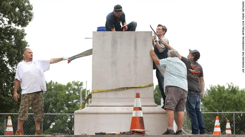 The remains of Confederate General Nathan Bedford Forrest and his wife are being removed from a Memphis park