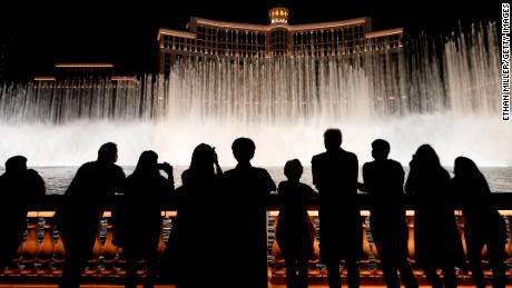 Visitors at the Fountains of Bellagio on Monday in Las Vegas.