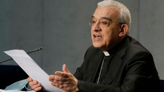 Mons. Filippo Iannone speaks during a press conference to illustrate changes in the Church's Canon law, at the Vatican, Tuesday, June 1, 2021.