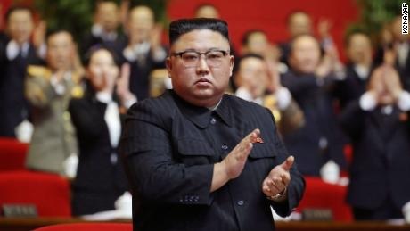 In this photo provided by the North Korean government, North Korean leader Kim Jong Un claps his hands at meeting of the ruling party congress in Pyongyang in January