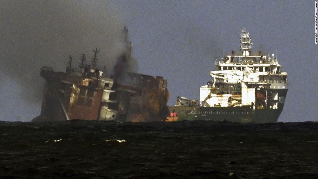 Sinking of stricken Sri Lanka cargo ship heightens fears of oil spill emergency