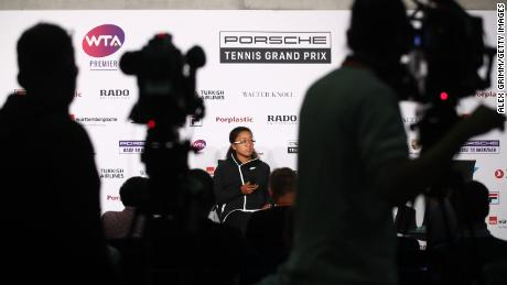 Osaka attends a press conference during day six of the Porsche Tennis Grand Prix at Porsche-Arena on April 27, 2019 in Stuttgart, Germany.