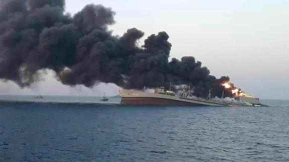 Smoke rises from Iran navy's largest ship in Jask port in the Gulf, Iran, June 2, 2021. WANA (West Asia News Agency) via REUTERS ATTENTION EDITORS - THIS IMAGE HAS BEEN SUPPLIED BY A THIRD PARTY.