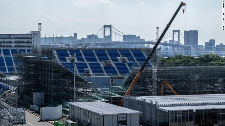 Work continuing on the Ariake Urban Sports Park, one of the venues for the Tokyo Olympics, on Tuesday.
