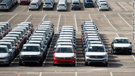 Around 5,000 unfinished cars remain parked outside the Volkswagen Navarra factory in Spain due to lack of semiconductor supply, on May 14.