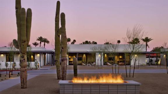 The restaurant at the Andaz Scottsdale Resort & Bungalows offers Dinner With your Dog on the patio with amazing views and a specialty doggie menu.
