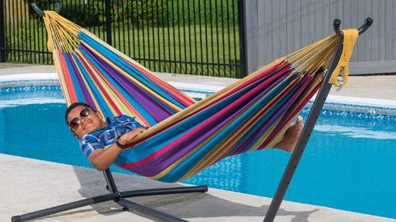 Vivere Double Cotton Hammock With Steel Stand