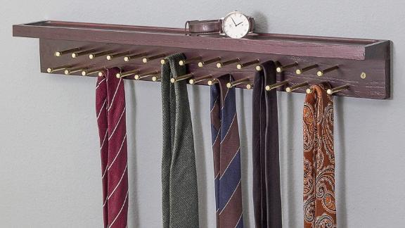 Erik Aleksi Solid Mahogany Tie and Belt Rack