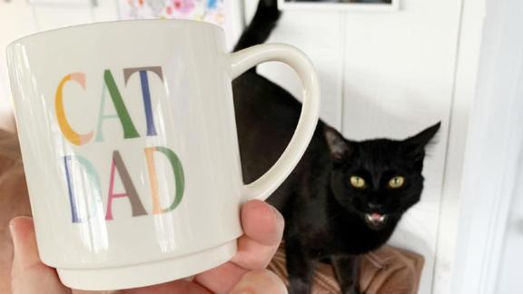 Stoneware Cat Dad Mug