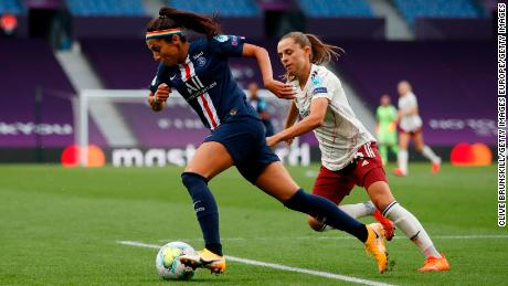 Nadia Nadim playing for PSG against Arsenal in last season's Champions League.