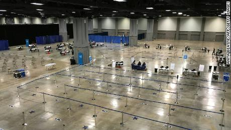 A deserted walk-in Covid-19 mass vaccination site at the Convention Center in Washington, D.C., on May 1, 2021.