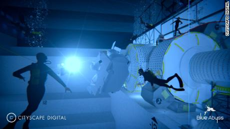 The pool -- pictured here in a design mock up -- can simulate various underwater conditions.