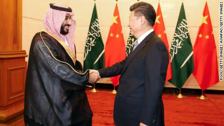 Saudi Arabia Deputy Crown Prince Mohammed bin Salman greets Chinese President Xi Jinping during a meeting at the Diaoyutai State guest house on August 31, 2016 in Beijing, China.
