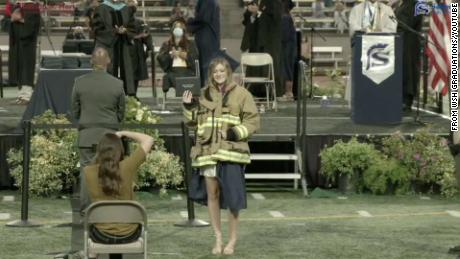 Her father was killed in the California fire station shooting. Firefighters came to her graduation