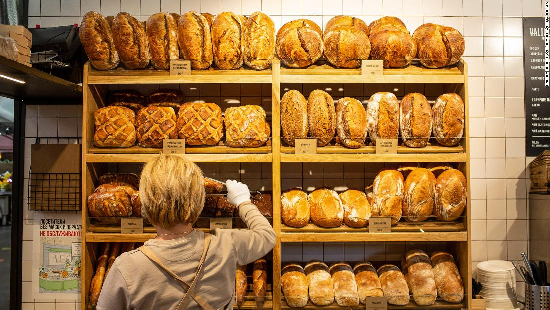 Fresh bread on a bakery stall inside Danilovsky market in Moscow, Russia, where food prices have shot up.