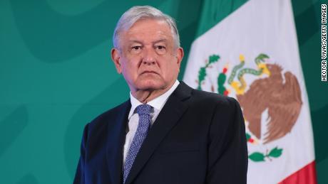 Andres Manuel Lopez Obrador attends the daily briefing at Palacio Nacional on May 28, 2021 in Mexico City, Mexico.