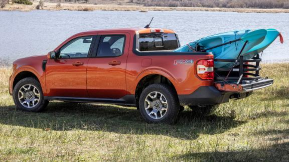 An optional bed extender makes it easier for the Ford Maverick to carry larger cargo.
