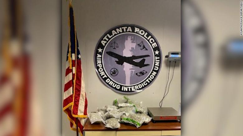 Atlanta police say they found more than 170 pounds of marijuana in suitcases from an arriving flight