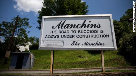 A sign bearing the Manchin name appears in Farmington.