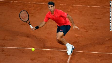 Federer plays a forehand during his third round match against Dominik Koepfer at Roland Garros on June 5.