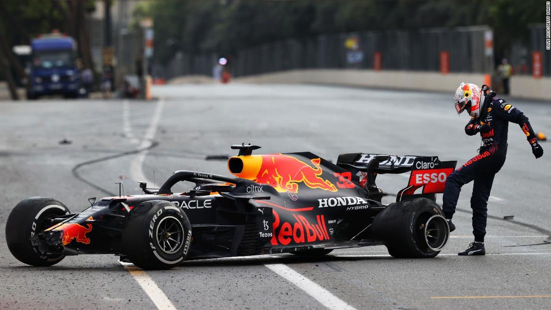 Max Verstappen suffers tire blow out as Sergio Perez claims Azerbaijan GP win
