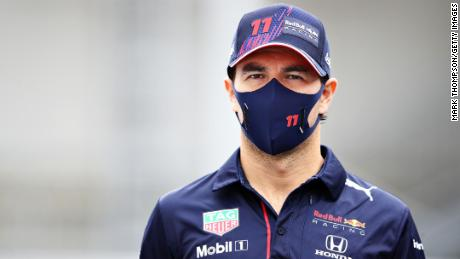 Perez walks in the paddock ahead of the Azerbaijan GP.