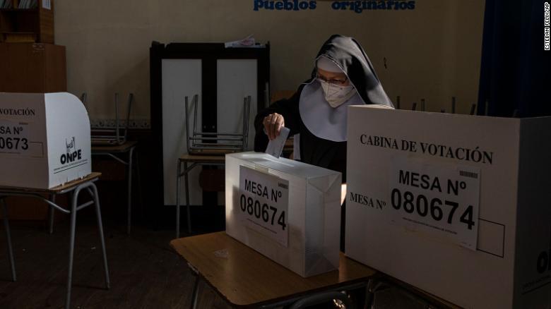 A Peruvian nun living in Chile cast her vote.
