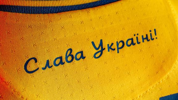 """The shirt also features the slogan """"Glory to Ukraine."""""""