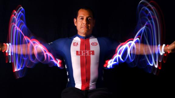 WEST HOLLYWOOD, CALIFORNIA - NOVEMBER 23: Para handcycle athlete Oz Sanchez poses for a portrait during the Team USA Tokyo 2020 Olympic shoot on November 23, 2019 in West Hollywood, California. (Photo by Harry How/Getty Images)
