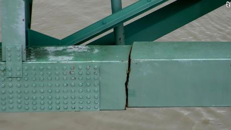 This undated photo released by the Tennessee Department of Transportation shows a crack in a steel beam on the Interstate 40 bridge, near Memphis.