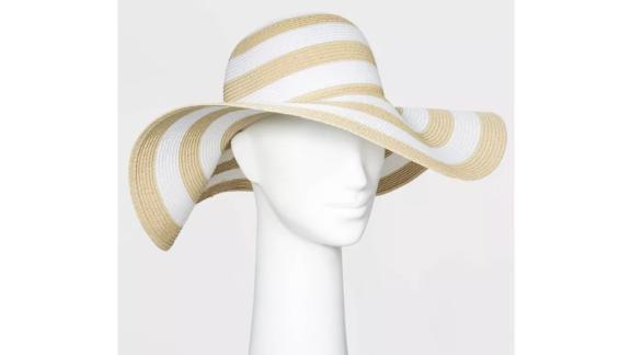 Women's Packable Essential Striped Straw Floppy Hat