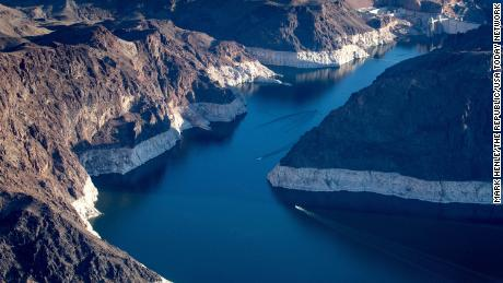 Hoover Dam and Lake Mead on Tuesday, May 11. A high-water mark or bathtub ring is visible on the shoreline.