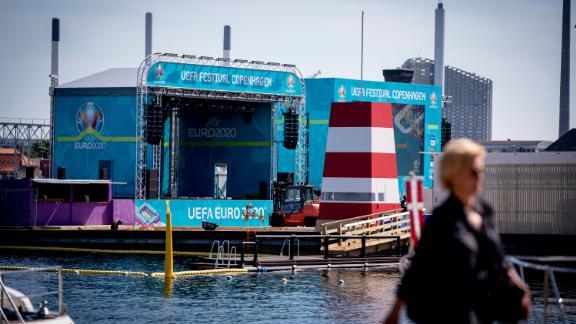 A UEFA European Championship Fan Zone Football Village on Ofelia Beach in Copenhagen, Denmark.