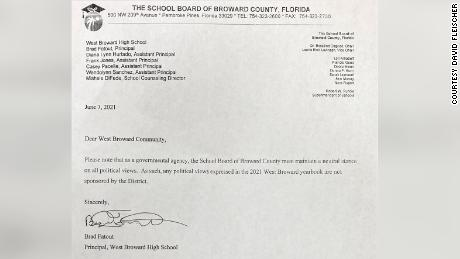 David Fleischer shared a picture of the letter that was attached to yearbooks after distribution resumed